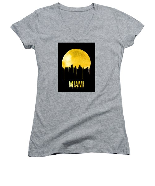 Miami Skyline Yellow Women's V-Neck T-Shirt (Junior Cut) by Naxart Studio