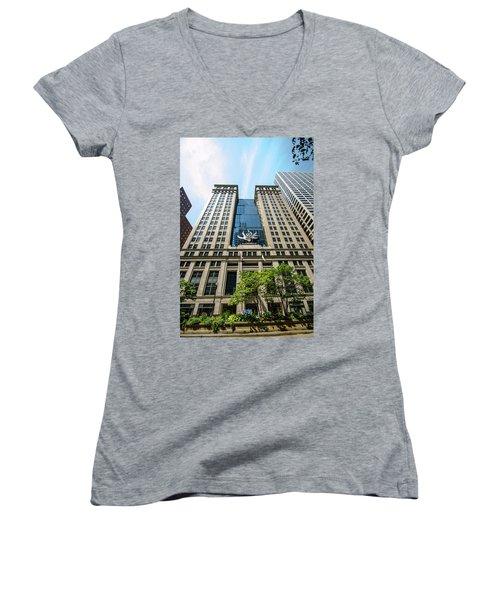 Michael A Bilandic Building Chicago Women's V-Neck T-Shirt (Junior Cut) by Deborah Smolinske