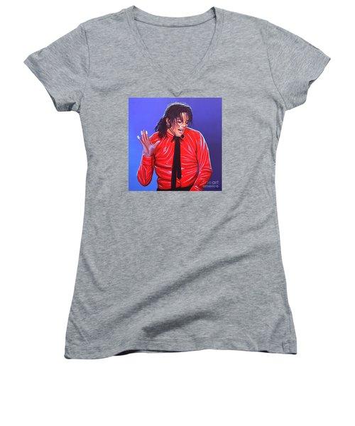 Michael Jackson 2 Women's V-Neck T-Shirt (Junior Cut) by Paul Meijering
