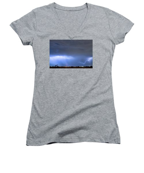 Women's V-Neck T-Shirt (Junior Cut) featuring the photograph Michelangelo Lightning Strikes Oil by James BO Insogna