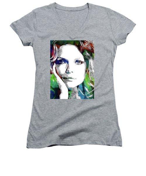 Michelle Pfeiffer Women's V-Neck T-Shirt (Junior Cut) by Mihaela Pater