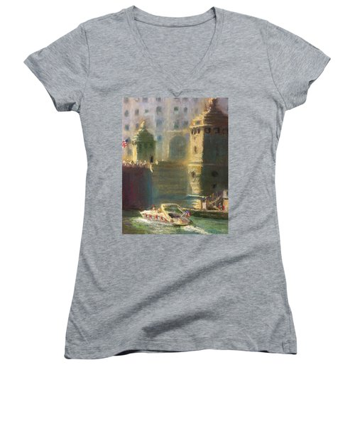 Michigan And Chicago Women's V-Neck T-Shirt