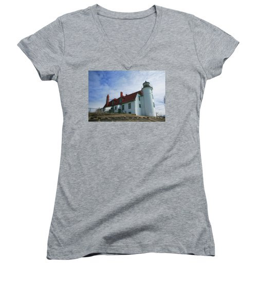 Women's V-Neck T-Shirt (Junior Cut) featuring the photograph Michigan Lighthouse by Gina Cormier