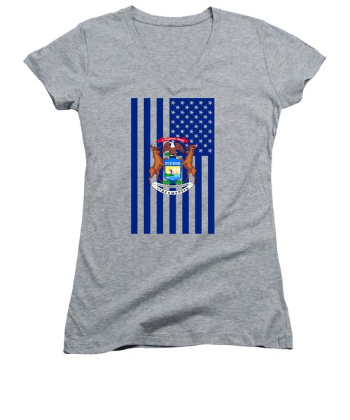 Michigan State Flag Graphic Usa Styling Women's V-Neck T-Shirt