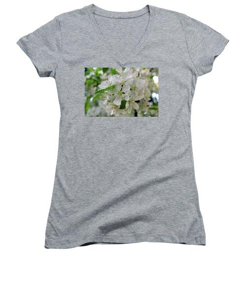 Women's V-Neck T-Shirt (Junior Cut) featuring the photograph Michigan State Flower by LeeAnn McLaneGoetz McLaneGoetzStudioLLCcom