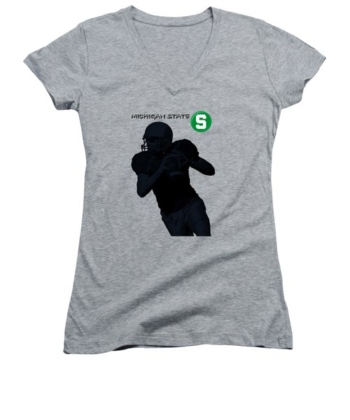 Michigan State Football Women's V-Neck (Athletic Fit)