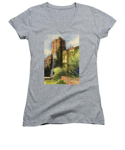 Michigan Union Women's V-Neck T-Shirt (Junior Cut) by Yoshiko Mishina