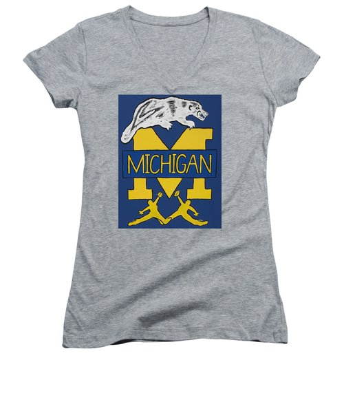 Michigan Wolverines Women's V-Neck T-Shirt