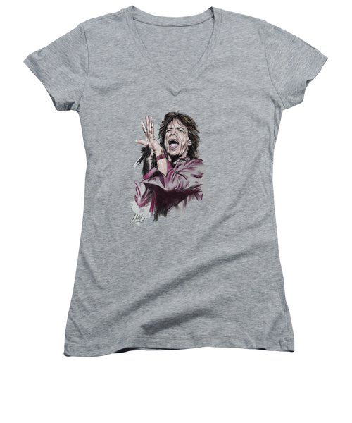 Mick Jagger Women's V-Neck T-Shirt