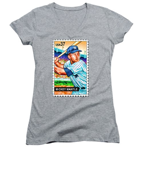 Mickey Mantle Women's V-Neck T-Shirt (Junior Cut) by Lanjee Chee