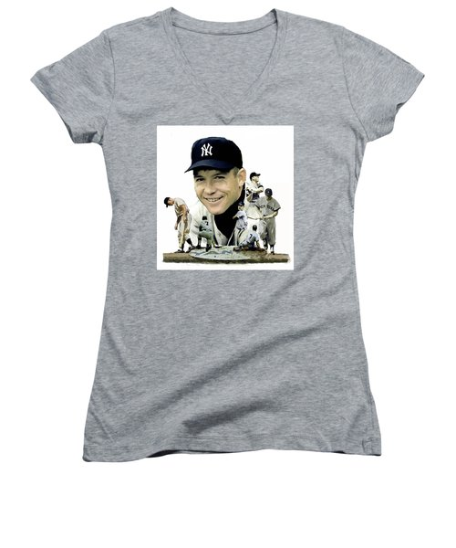 Mickey Mantle Legacy, II  Women's V-Neck T-Shirt (Junior Cut) by Iconic Images Art Gallery David Pucciarelli