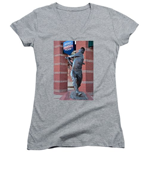 Mickey Mantle Plaza Women's V-Neck T-Shirt (Junior Cut) by Frozen in Time Fine Art Photography