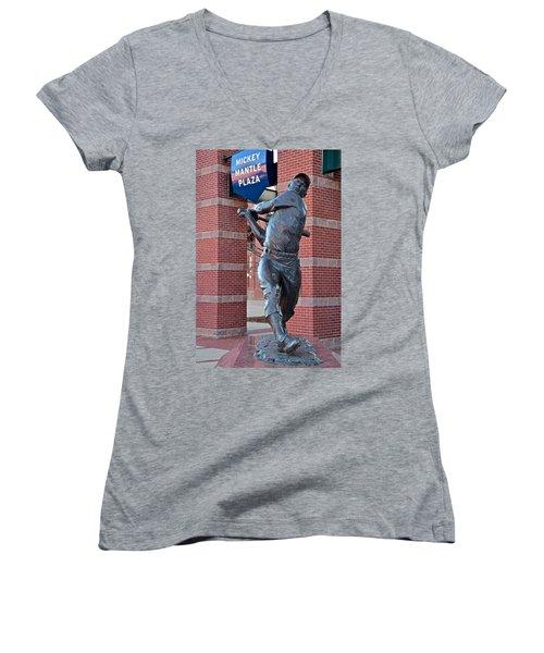 Mickey Mantle Plaza Women's V-Neck T-Shirt
