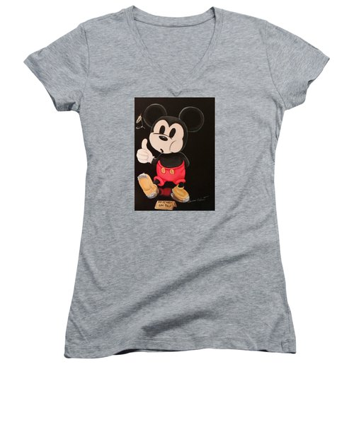 Mickey On Tap Women's V-Neck T-Shirt