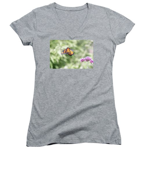 Women's V-Neck featuring the photograph Mid-air Monarch 1 by Brian Hale