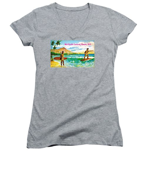 Mid Pacific Carnival Hawaii Surfing 1915 Women's V-Neck T-Shirt (Junior Cut) by Peter Gumaer Ogden