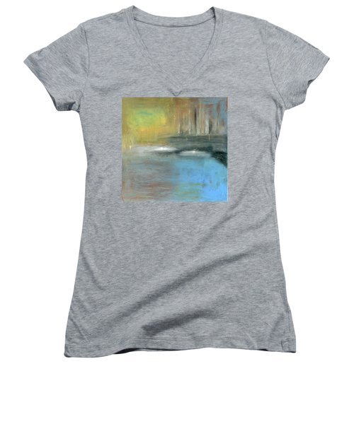 Women's V-Neck T-Shirt (Junior Cut) featuring the painting Mid-summer Glow by Michal Mitak Mahgerefteh