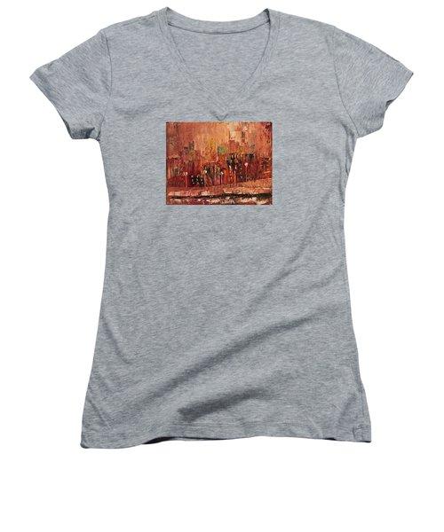 Women's V-Neck T-Shirt (Junior Cut) featuring the painting Mid Town by John Stuart Webbstock