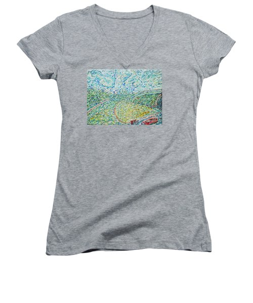 Midday Steam Women's V-Neck T-Shirt (Junior Cut) by Anna Yurasovsky