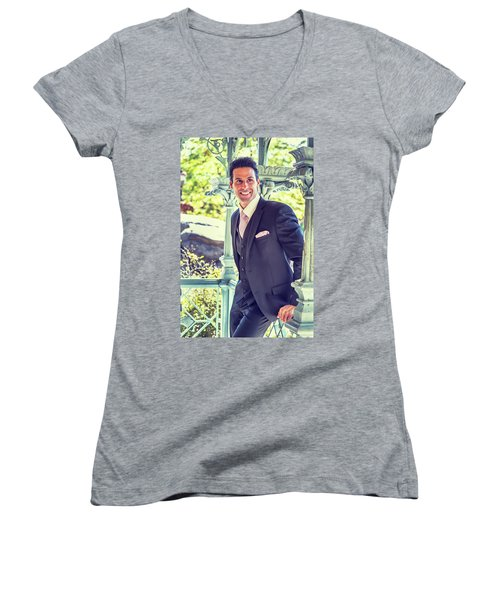 Middle Age Man Waiting For You Women's V-Neck