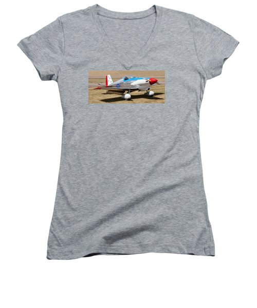 Women's V-Neck T-Shirt featuring the photograph Midget Mustang by Fran Riley