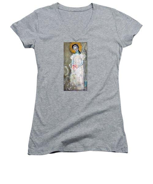 Midnight Muse Women's V-Neck T-Shirt (Junior Cut) by Sharon Furner