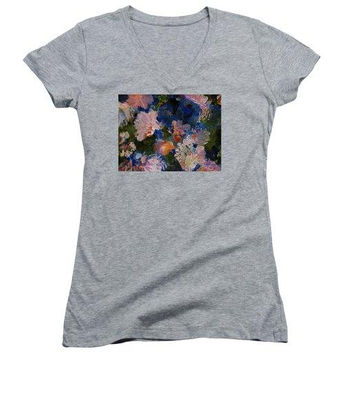 Midnight Summer's Dream Women's V-Neck T-Shirt (Junior Cut) by Nancy Kane Chapman