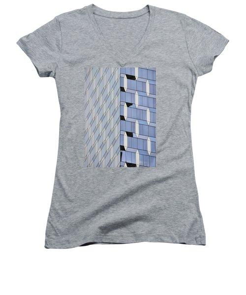 Midtown Architecture  Women's V-Neck T-Shirt (Junior Cut) by Sandy Taylor