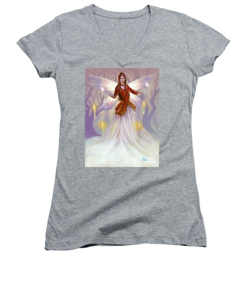 Midwinter Blessings Women's V-Neck T-Shirt (Junior Cut) by Amyla Silverflame
