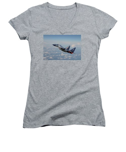 Women's V-Neck T-Shirt (Junior Cut) featuring the digital art Mig 29 - Polish Fulcrum Dedication by Pat Speirs