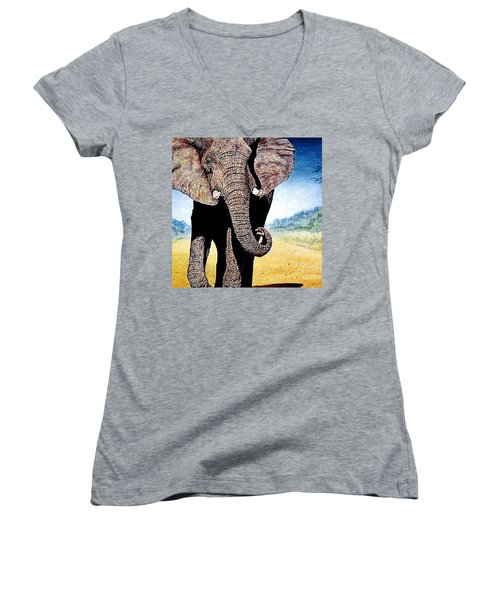 Mighty Elephant Women's V-Neck T-Shirt (Junior Cut) by Hartmut Jager