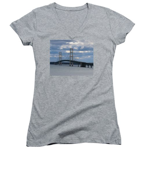 Mighty Mac The Mackinac Bridge Women's V-Neck T-Shirt