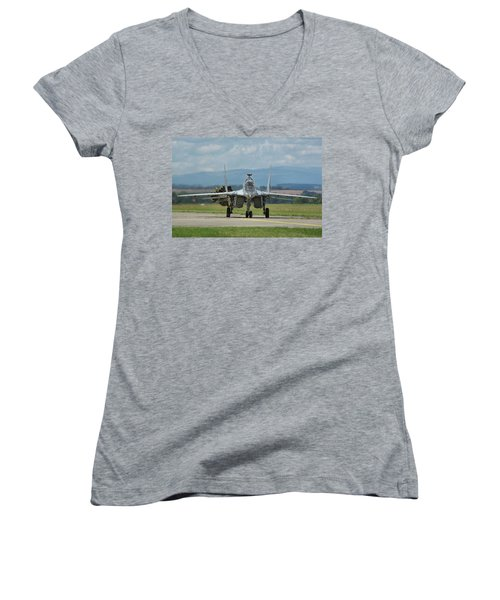 Women's V-Neck T-Shirt (Junior Cut) featuring the photograph Mikoyan-gurevich Mig-29ubs by Tim Beach