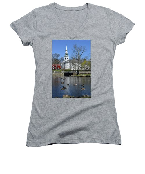 Milford Congregational Church Women's V-Neck (Athletic Fit)
