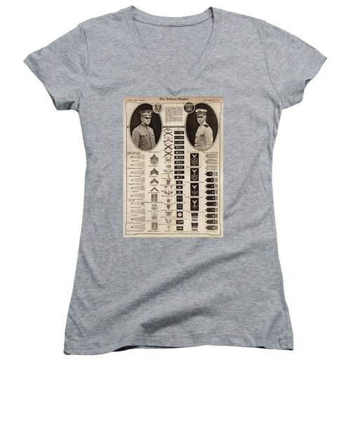 Women's V-Neck T-Shirt (Junior Cut) featuring the photograph Military Rank Identification 1917 by Daniel Hagerman