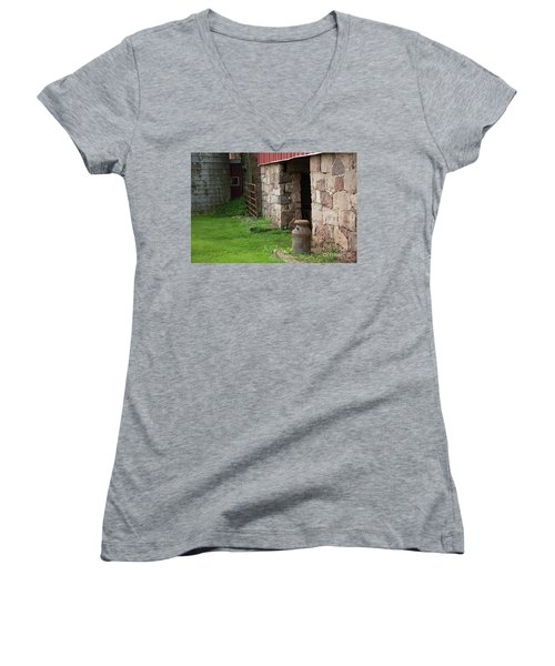 Milk Can At Stone Barn Women's V-Neck