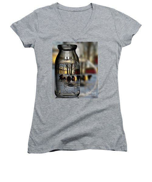 Milk Jar Reflecton Women's V-Neck (Athletic Fit)