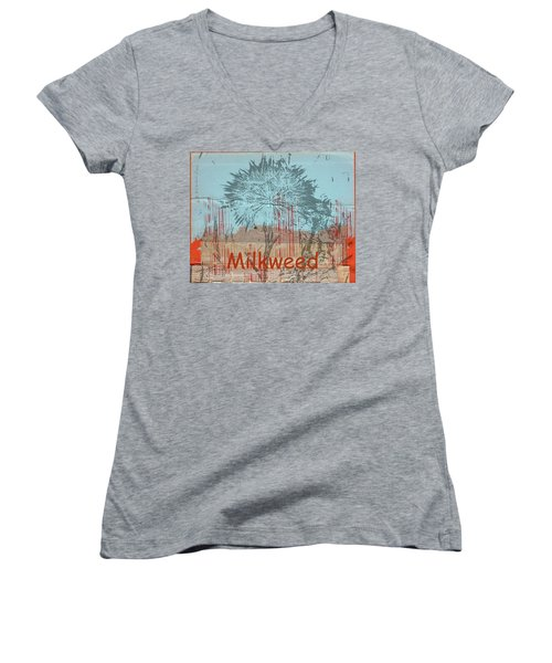 Women's V-Neck T-Shirt (Junior Cut) featuring the photograph Milkweed Collage by Cynthia Powell
