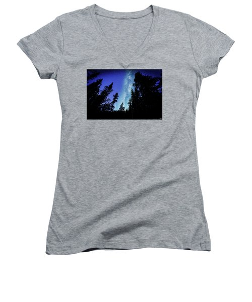 Milky Way Among The Trees Women's V-Neck