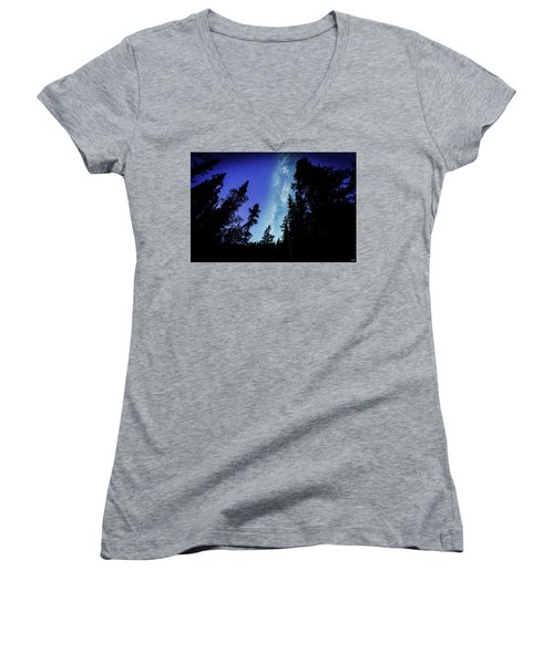 Milky Way Among The Trees Women's V-Neck (Athletic Fit)