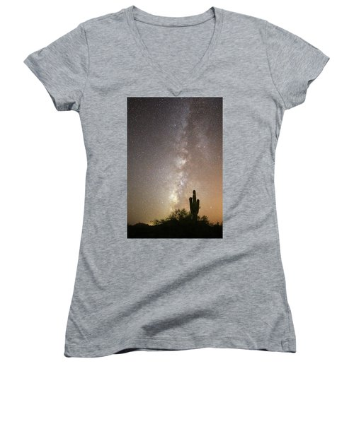 Milky Way And Saguaro Cactus Women's V-Neck (Athletic Fit)