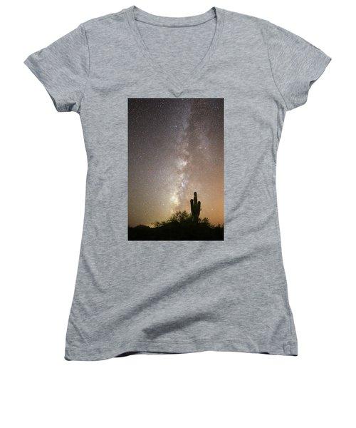 Milky Way And Saguaro Cactus Women's V-Neck