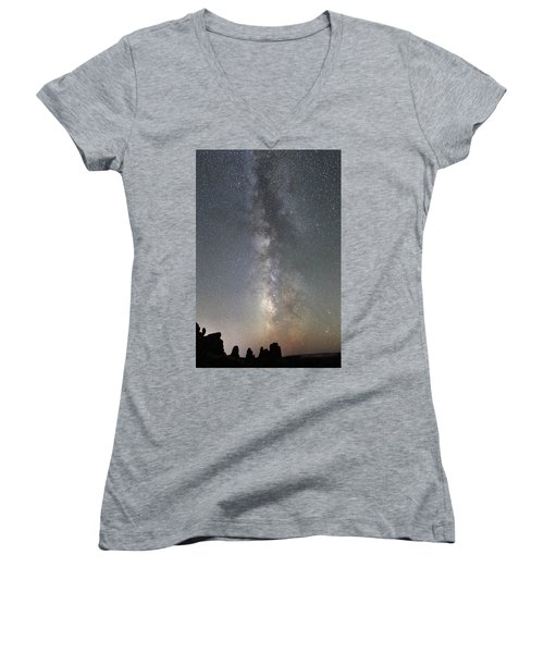 Milky Way Over Arches Np Two Women's V-Neck