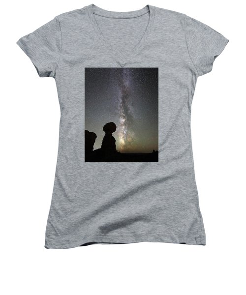 Milky Way Over Arches Np Three Women's V-Neck