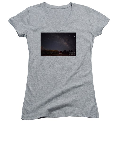 Women's V-Neck T-Shirt (Junior Cut) featuring the photograph Milky Way Over White Pocket Campground by Anne Rodkin