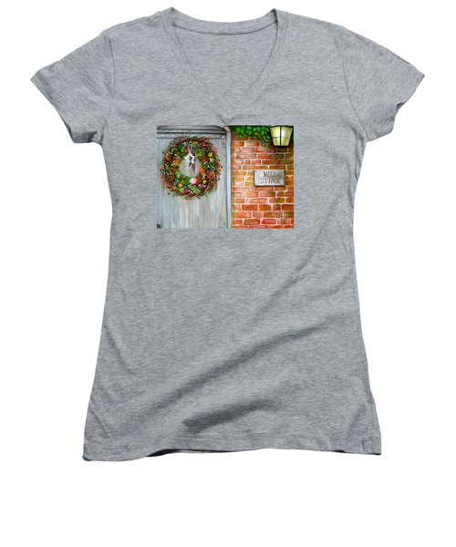 Mill Cottage Women's V-Neck T-Shirt (Junior Cut) by Patrice Torrillo