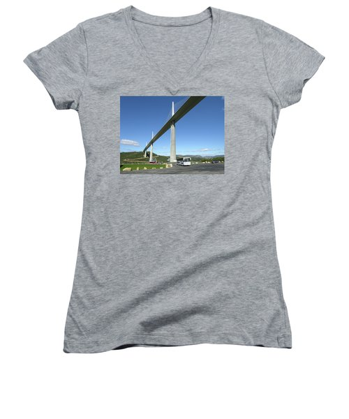 Women's V-Neck T-Shirt (Junior Cut) featuring the photograph Millau Viaduct by Jim Mathis
