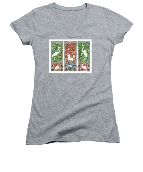Women's V-Neck T-Shirt (Junior Cut) featuring the drawing Millefleurs Triptych With Unicorn, Cranes, Rabbits And Dove by Lise Winne