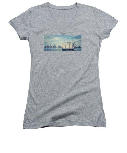 Milwaukee Schooner Women's V-Neck T-Shirt (Junior Cut) by Nikki McInnes