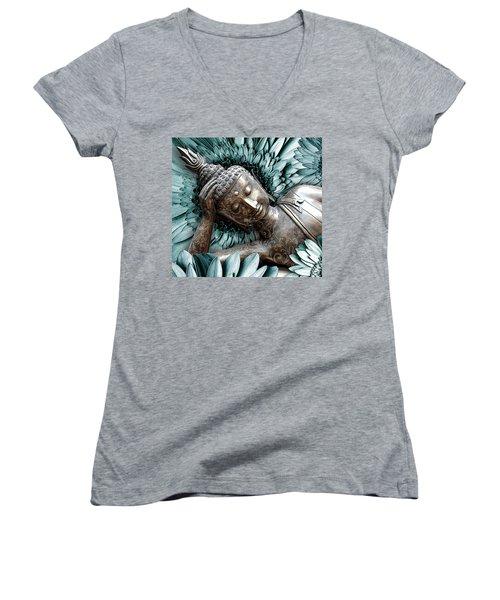Mind Bloom Women's V-Neck T-Shirt (Junior Cut) by Christopher Beikmann